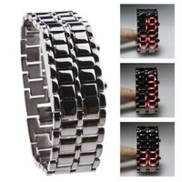 Black Metal Strip Digital Lava Style Iron Sport Mens Red LED Faceless Wrist Watch