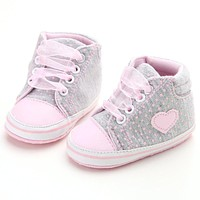 Toddler Newborn Baby Girls Polka Dots Autumn Lace-Up First Walkers Sneakers Shoes Classic Casual Baby Shoes