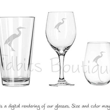 Etched Blue Heron Pub Glasses Wine Glass or by tidbitsboutique