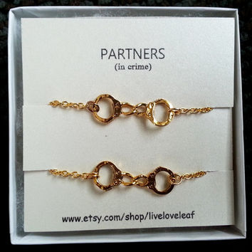 Partners in crime matching Handcuffs Bracelets Gold Handcuffs Bracelet, handcuff charm bracelet, love bracelet handchain BFF jewelry