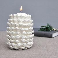Porcelain Pinecone Candle Holder