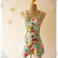 Summer Play Floral Overall Shorts Overall Jumper Summer Overall Floral Jumper Blue with Pink Paradise Rose -Size XS-
