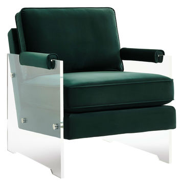 Serena Green Velvet/Lucite Chair