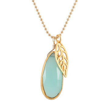 Faceted Teardrop Shaped Green Chalcedony Gemstone Pendant with Gold Vermeil Leaf Charm on Gold Fill Bead Necklace, 16, 18 and 20 inch lengths, #7286S
