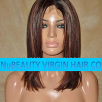 "CUSTOM COLORED Human Hair Wig Full Lace 12"" Straight Brown 2 Auburn 33 Highlights Roots"
