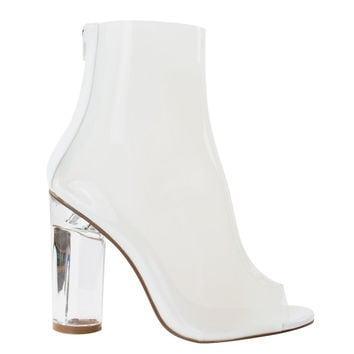 Campo2 White By Liliana, Clear See Through Jelly Ankle Bootie Perspex Glass Chunky Block High Heel