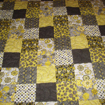 Black, Grey, White and Yellow Patchwork Quilt Blanket