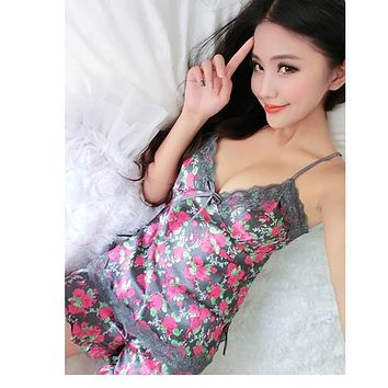 Sexy Women Pajamas Imitated Silk Lace Floral Printed Robe Sleepwear Lingerie Nightdress Tops+Pants Set FS99