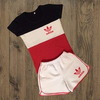 Adidas Fashion Short Sleeve Sport Gym Set Two-Piece Shirt Shorts Sportswear