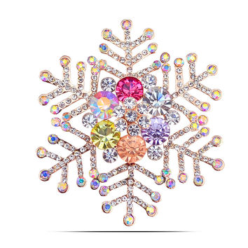 Multi-color rhinestone snowflake brooches for women wedding elegant pins and brooches
