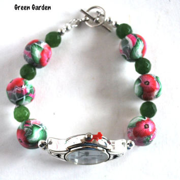 On Sale Ladies Watch, Red Flowers Green Leaves Beads, Handmade, Stainless Steel, Beaded Band, Polymer Beads, Fashion Watch, Artisan Jewelry