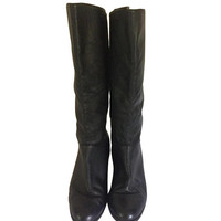 Vintage Tall Black Boot Black Leather Boot Women Flat Boot Ladies Boot Size 8.5 Women Boot