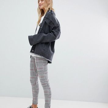 Daisy Street High Waist Slim Trousers In Check at asos.com