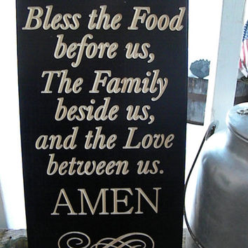 Bless the food before us the family besides us and the love between us Amen engraved House Family Rules Typography Word Art Subway Sign