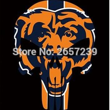 Chicago Bears Skull Vertical Flag 3x5FT NFL banner 100D 150X90CM Polyester brass grommets custom66, Free Shipping