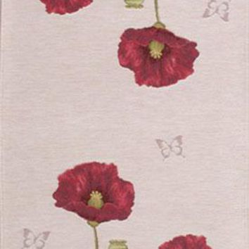 Poppy White  French Table Runner
