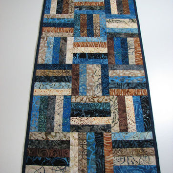 Quilted Table Runner , Batik Table Runner , Scrappy , Blue/Brown/Beige