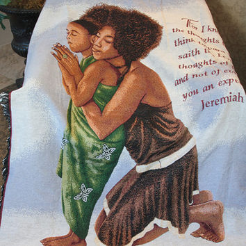 Mother and Daughter Tapestry Throw with Scripture Jeremiah 29:11