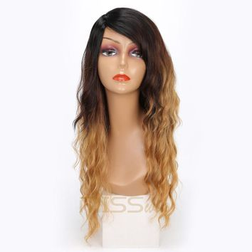 MISS WIG Black Ombre Brown Blonde Wigs Curly Wig For Women 21Inches Long Synthetic Wig 250g