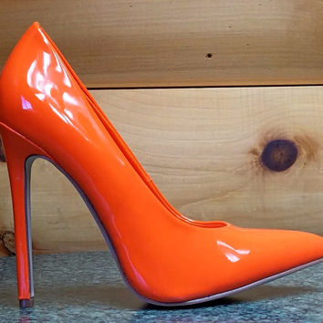 "Alba Ricky Orange Patent Pointy Toe Pump Shoe 4.5"" Stiletto High Heels 6- 11"