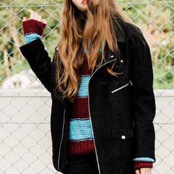 Oversized Striped Sweater in Red-Blue
