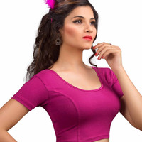 Magenta Cotton Lycra Stretchable Saree Blouse SNT-A-14-SL