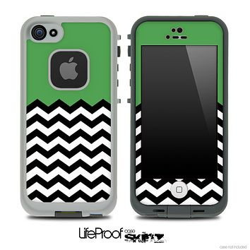 Solid Color Hunter Green and Chevron Pattern Skin for the iPhone 5 or 4/4s LifeProof Case