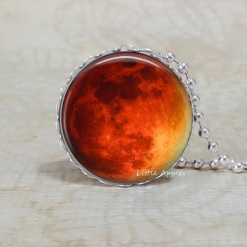 Orange red moon silver lace necklace, harvest, planet jewelry, solar system, universe