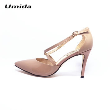 Umida Brand Women Shoes Genuine Leather Shoes Hot High Heels Cross-tied Pumps Sexy Women High Heels Shoes Pointed Toe Shoes