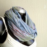 Infinity scarf,  Spring scarf, cotton 100% multicolored print , ultra lightweigh, airy and fun, blue,green and pink, READY To SHIp.