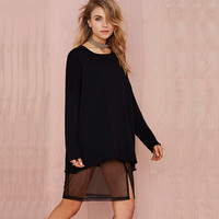 Black Loose Long Sweatshirt with Slit