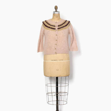 Vintage 60s MOHAIR CARDIGAN / 1960s Hand Knit Palest Pink Cardi with Metallic Gold Lurex & Angora Sweater