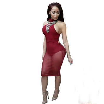 Red Sleeveless Bodycon Mini Dress