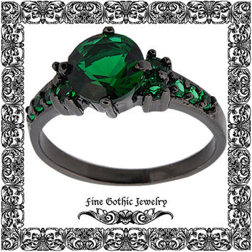 Gothic Engagement Ring | Black Engagement Ring | Edgy 2Ct Emerald Green Black Gold Filled Ring | Size 6 7 8 9 10 #111-GR
