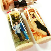 Personalized Photo Image BIC Lighter Case Holder Sleeve Cover Custom Gift Idea