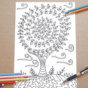 tree of life adult coloring page abstract instant download colouring whimsical draw meditation zen printable print digital lasoffittadiste