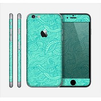 The Teal Leaf Laced Pattern Skin for the Apple iPhone 6