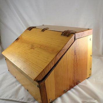 Pine Wood Box w/ Leather Hinged Lid Crude Rustic Shop Class Project Bread Box Cabin Storage Folk Art Lodge