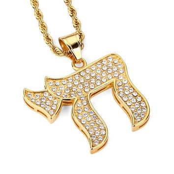 NYUK New Classic Islamic Allah Pendant Necklace Vintage Rhinestone Crystal Arabic Religious Muslim Jewelry For Men Women Steel