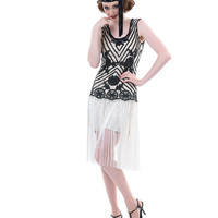 Unique Vintage 1920s Style Ivory & Black Beaded Rosalie Flapper Dress