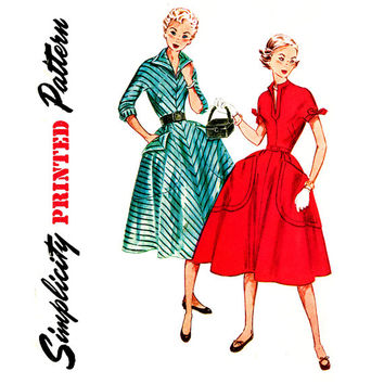 1950s Dress Pattern Bust 30 Simplicity 3996 Rockabilly Teen Full Skirt Fit and Flare Wing Collar Big Pockets Womens Vintage Sewing Patterns