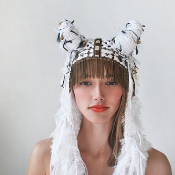 UTHA SHAMAN  white dove,bridal accessories, headdress, festival, bridal, Wedding Headpiece, wedding headdress