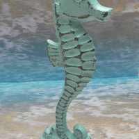 Seahorse Cast Iron Statue Figurine Stand Nautical Sea Horse Light Cottage Chic Beachy Blue Shabby Chic Distressed Beach Weathered Look