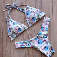 HOT TWO STRAPS BLUE FLORAL PINK WHITE FLOWER COLORFUL TWO PIECE BIKINIS
