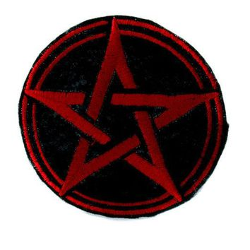 ac spbest Red Wicca Woven Pentagram Patch Iron on Applique Alternative Clothing Pagan Witchcraft