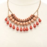 Dangling Beaded Bib Necklace