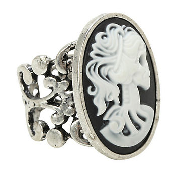 Skeleton Girl Cameo Ring
