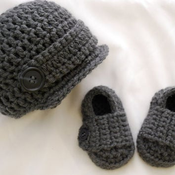 Baby Boy Newsboy Hat and Loafer Booties Set in Charcoal Gray, Baby Boy Clothes, Baby Boy Photo Prop, MADE TO ORDER