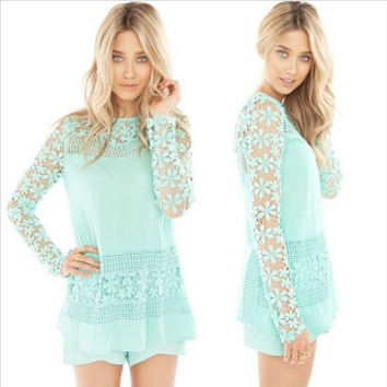 Lace Long Sleeve Crochet Blouse