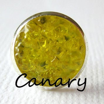 Canary Earrings Yellow Druzy Studs Canary Yellow Earrings Bold Yellow Round Silver Studs Canary Yellow Color 8mm Stud Earrings